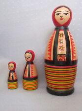"3 pcs Ukrainian Hutsul Nesting Doll, Hutsul Woman,Traditional, Hand Painted, 6"""