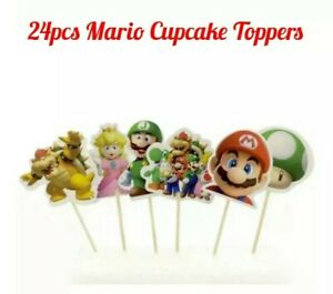 24x Super Mario Cupcake Toppers Mario Cake Topper Party Fruit Jelly Cup Decor