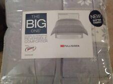 Down-Alternative Reversible Comforter Bedding Full/Queen Size Gray W Snow Flakes