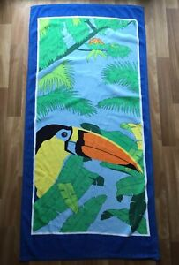 Vtg Toucan Beach Towel Tropical Bird Colorful 27x55