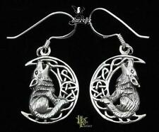 Silver Howling Wolf on Moon Earrings Lisa Parker Sterling .925 Licensed Product