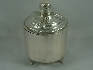 CONTINENTAL solid silver CADDY, c1890, 284gm