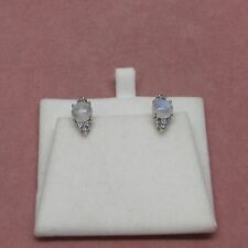 Sterling Silver leverback Rainbow Moonstone earrings 925 Sterling Silver