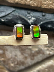 Natural Canadian Ammolite 925 Solid Sterling Silver Earrings 10mm