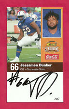 Jessamen Dunker 2017 Senior Bowl Auto Tennessee State Tigers Signed Ny Giants B