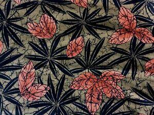 2+ yards vintage Ameritex fabric botanical batik cotton black, rust, dark taupe