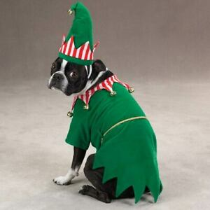 Zack & Zoey ELF Dog Costume Holiday Green Tunic Hat Belt Jingle Bells Polyester