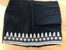 H&M Black Embroidery Linen Mixed Mini Pencil Skirt Size 40 14