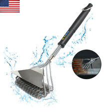 BBQ Grill Brush Cleaning Barbecue Tool with Scraper Stainless Steel Bristle Free