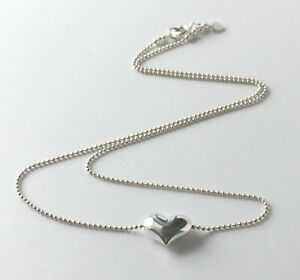 Sterling Silver Heart Necklace, Puffed Heart Bead Chain Womens Gift Custom Sizes
