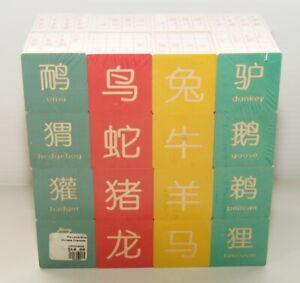 New Chinese Character Teaching Blocks 32 Wood Embossed English