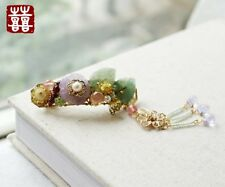 HAND MADE Women Hair Clip Classic Flower Purple Crystal Jade Pearl FREE GIFT