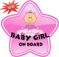 Non Personalised Baby Girl Glassy Star Shaped Baby On Board Car Sign