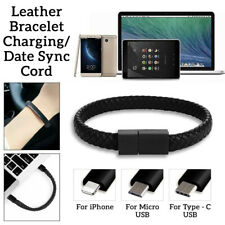 LEATHER BRACELET MICRO/TYPE C USB/LIGHTNING Charging/Data Sync Transfer Cord