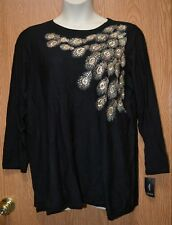 Womens Pretty Black Embroidered Sequined Alfani Sweater Size 1X NWT NEW $95