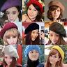 Women Autumn Solid Warm Wool Winter Beret French Artist Beanie Hat Ski Cap Hats