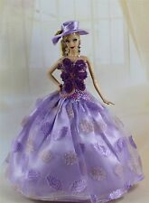 Purple Fashion Royalty Party Dress/Wedding Clothes/Gown+hat For Barbie Doll F88