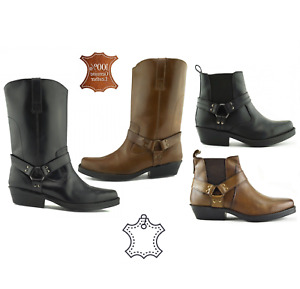 Mens Leather Ankle Cowboy Boots Western Cuban Heel Harley Biker Long SALTA Shoes