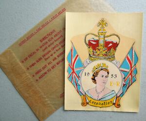 1953 Queen Elizabeth Coronation Vintage Souvenir Travel Water DECAL w/ Envelope