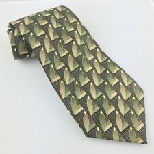 Bruno Pirelli Olive Geometric Classic Silk Mens Neck Tie