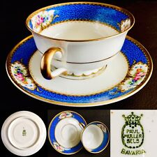 Antique 1920s German Paul Muller Selb Bavaria Gold Gided Bone China Cup & Saucer