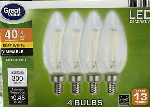 Great Value LED Light Bulb, 4W (40W) B10 Deco Lamp E12 Candelabra Dimmable 4 Pk