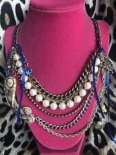 Betsey Johnson Vintage Nautical Blue Mermaid Anchor Ship Ribbon Pearl Necklace