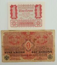 AUSTRIA  1 Krone 1916 &  1 Krone 1922    P-20  &  P-73       Set 2 Notes
