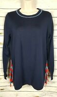 J Crew Side Tie Slit Sweater Top Navy NEW Small 100% Merino Wool