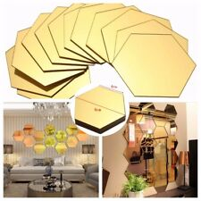 12Pcs 3D DIY Mirror Hexagon Decal Removable Vinyl Wall Sticker Home Decor Art