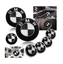 7 PZ NERO-BIANCO VERA FIBRA DI CARBONIO Stile etichetta con logo emblema Set BMW² M3 X5 82 74