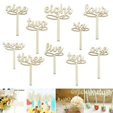 10Pcs 1-10 Wooden Table Numbers Set Freestand Stick for Birthday Wedding Party