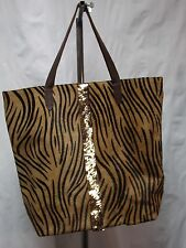Anthropologie Rose & Rose Tiger Stripe Glimmered Calf Hair Leather Tote NWOT