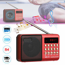 Pocket FM Radio Audio Receiver Speaker Rechargeable USB SD TF Card Mp3 Player