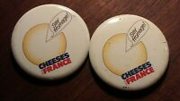 "Lot of 2 Vintage ""Say Fromage"" Cheeses from France Button Pin Pinback"
