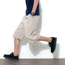 Mens loose linen blend beach shorts casual harem pants Loose cropped trousers SZ