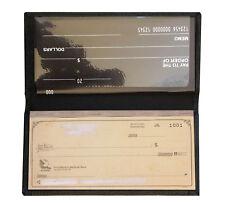 Black Genuine Leather Standard Checkbook Cover Wallet Men Lady's