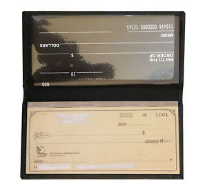 Black Genuine Leather Standard Checkbook Cover Wallet Men Lady's