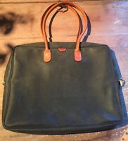 VINTAGE RARE'BRIC'S' LAPTOP BRIEFCASE 'LIFE RANGE' GREEN WITH TUSCAN LEATHR TRIM