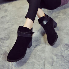 Fashion Women Winter Snow Ladies Low Heel Ankle Belt Buckle Martin Boots Shoes