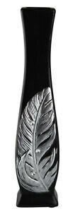 Black Ceramic Vase - Silver Diamante Feather Design 30cm Decorative Ornament