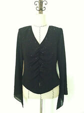 J.R. Nites special occasion blouse top sz 10 black bead long sleeve sheer v neck