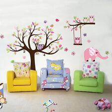 Owl Tree branch elephant Wall Art Stickers Kids Nursery Vinyl Decal removable
