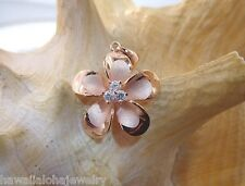 22mm Hawaiian 14k Rose Gold Over Silver Brushed Satin Plumeria 3 CZ Pendant #3