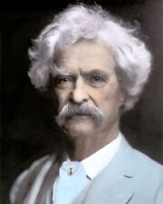 "MARK TWAIN SAMUEL LANGHORNE CLEMENS AUTHOR WRITER 8X10"" HAND COLOR TINTED PHOTO"