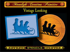 Primitive Stencil~HOLIDAY SLED RIDERS~Classic Rustic Victorian Vintage Style