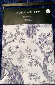 """4 Laura Ashley Belvedere PEACOCK CURTAIN PANELS Floral Blue/Green 38""""x84"""" NWT"""