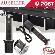 2 USB 3 Plug Outlet Pop up Power Point Socket Pull Home Kitchen Unit Worktop