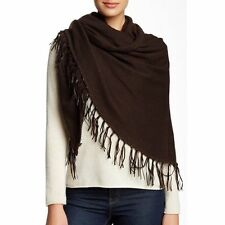 Portolano 100% Cashmere Scarf Wrap Leather Fringe Trim Chocolate Brown MSRP $509