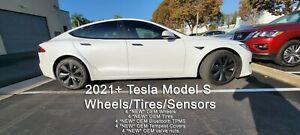"2021+ Tesla Model S OEM 19"" inch Tempest Wheels Tires TPMS Long Range Plaid 2022"